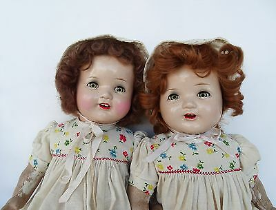 "RARE! Vintage 1928 ""Chuckles"" 2 Composition Mama Dolls by American Character 21"""