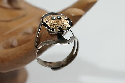 D808 Rare Vintage Hand Made Sterling / 18 Kt Inca God Peruvian Resizable Ring