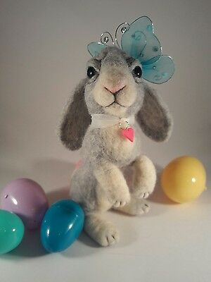"""NEEDLE FELTED Fuzzy EASTER Bunny Rabbit Butterfly 8"""" USA OOAK-Artist-by Sarah"""