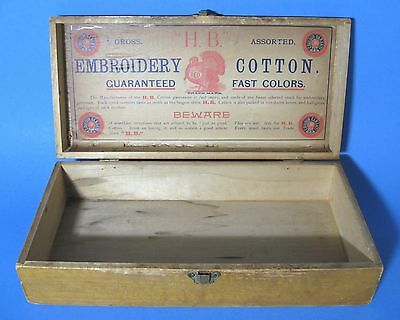 Antique H.B. Embroidery Cotton Wooden Display Box with Red Turkey Paper Label