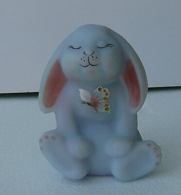 Collectable Fenton Blue Burmese Glass Rabbit Figurine Handpainted By S. Hart