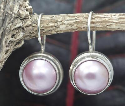 Handmade Sterling Silver .925 Bali Med. Round Dangle Pink Mabe Pearl Earrings.