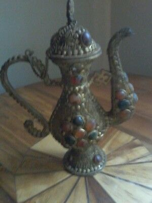 Vintage Asian Bronze Tea Pot embedded with Semi-precious Stones Fengshui