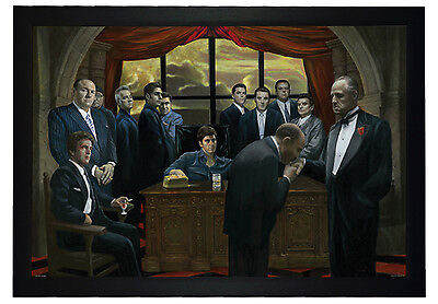 """The Godfather and Scarface Mafia Gangsters 24""""x36"""" Framed Art Poster (E3-1056)"""