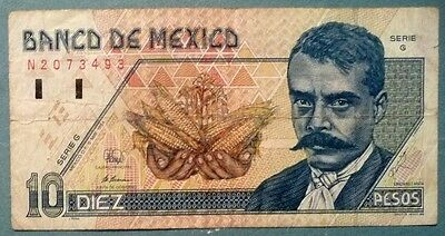 MEXICO 10  PESO NOTE , P 105 a , issued 06.05. 1994