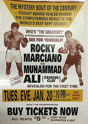 "Large Poster: Muhammad Ali (Cassius Clay) Rocky Marciano Simulated ""super Fight"""