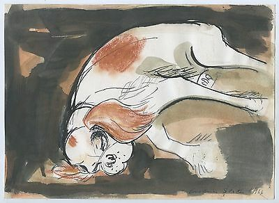1966 Watercolour Ink Pastel & Pen Sleeping Cavalier Dog By Constance Stokes  B45