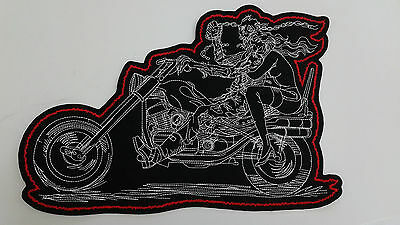 "1 pc GIANT SIZE SKULL BIKER WITH LADY EMB.PATCH 13X8-3/4"" SEW-ON"
