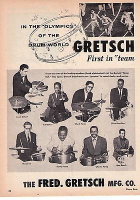 "1957 Gretsch Drums Honor Roll "" Bellson, Blakey, Lewis etc."" Print Advertisement"