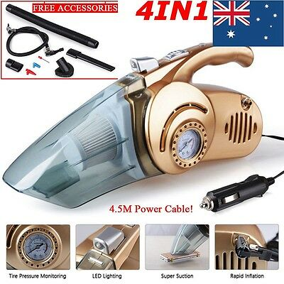 4in1 12V Portable Wet Dry Bagless Car Vehicle Vacuum Auto Handheld Dust Cleaner