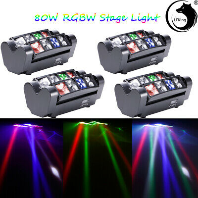 4PCS RGBW 8x10W LED Spider Beam Moving Head Stage Lighting DJ Disco Party Light