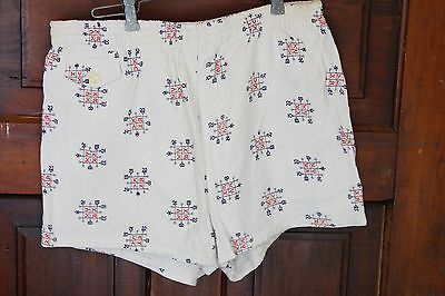 Vintage 50s Ranch Brand Print Rayon Mens 34/36 Swim Trunks Suit