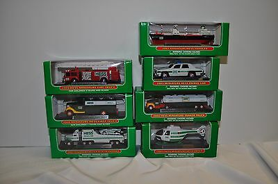 Lot of 7 Continuous years  Hess Mini Trucks NEW in Box  1999 thru 2005