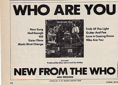 """1978 The Who """"Who Are You"""" Vintage Record Album Trade Print Advertisment"""
