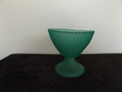 Green glass footed bowl
