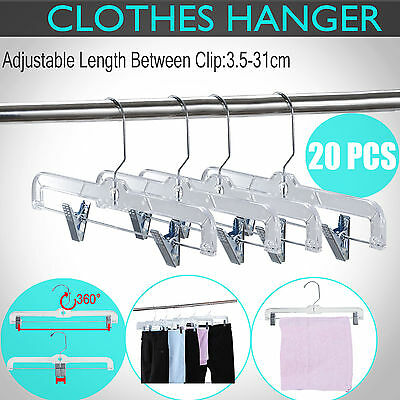 20PCS Coat Clothes Hangers Adjustable Clip Hook Pant Skirt Kids Coathanger