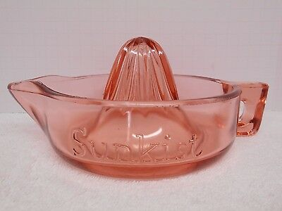 Vintage SUNKIST Pink Glass JUICER REAMER Made in USA Pat. No. 68764