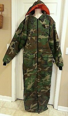 MEN'S XL TALL COVERALLS Reversible INSULATED Camouflage & Blaze Orange w/ HOOD