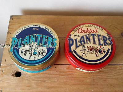 2 x Canadian 1991 Planters Mr. Peanut & Cashew 75th Anniversary Collectible Tins