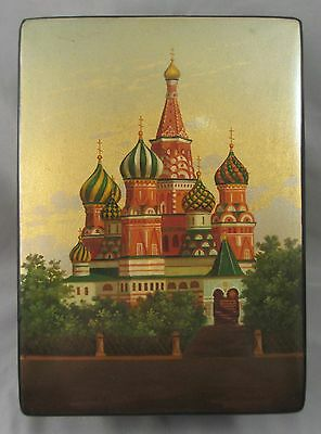 Signed 1976 Russian Fedoskino Laqcuer Box St Basils Vasily The Blessed Cathedral