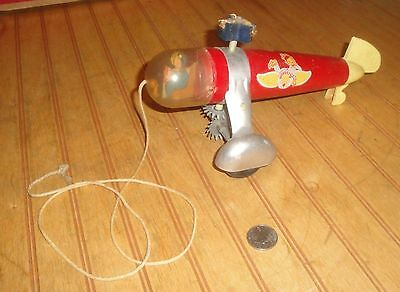 Vintage WOODETTE Wood & Metal Helicopter Pull Toy as-is condition damaged