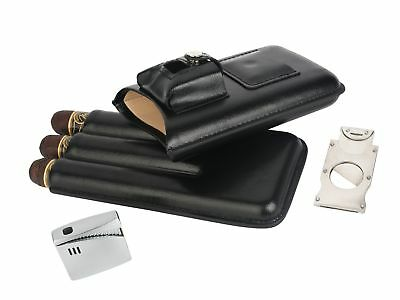 Mantello Genuine Leather 3 Cigar Case with Lighter and Cutter