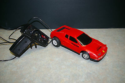 1989 New Bright 'ferrari' Wired Remote Control Rc - Tested And Working