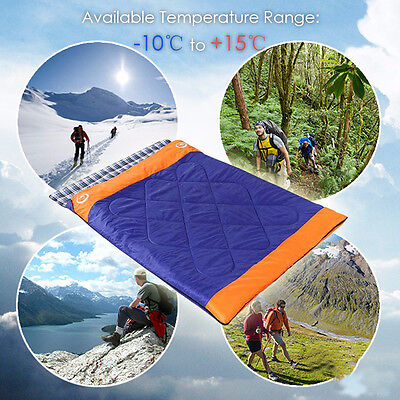 Double Outdoor Camping Envelope Twin Sleeping Bags Thermal Tent Hiking Winter AU