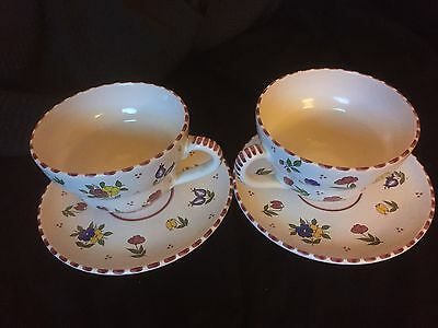 Vintage coffee cups with plates-Floral- set of two
