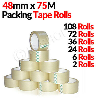 Packing Tape Packaging Sticky Sealing Clear Box 48mm 75m 108 72 36 6 2 Roll PCs