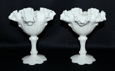 Pair Of Vintage Fenton White Milk Glass Compotes Fluted Rim Cabbage Rose Pattern
