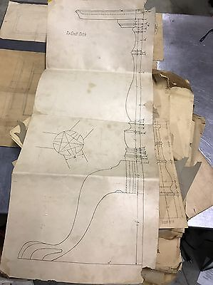 Antique Furniture Drawings Hepplewhite Scale Huge Lot 40-50 Drawings Old Paper S