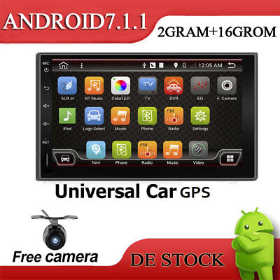 "Autoradio 7"" 2DIN Car GPS Player Bluetooth SAT No-DVD NAV Mirror Android 6.0"