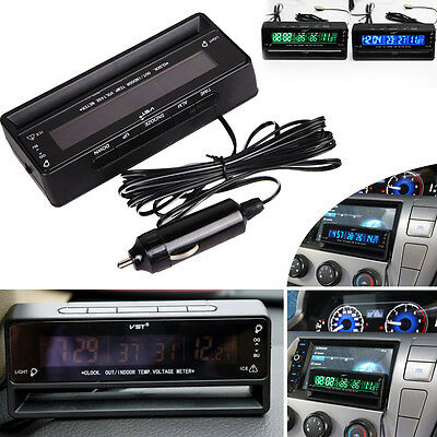 Digital Car Auto LCD Clock Thermometer Temperature Voltage Meter Weather Monitor