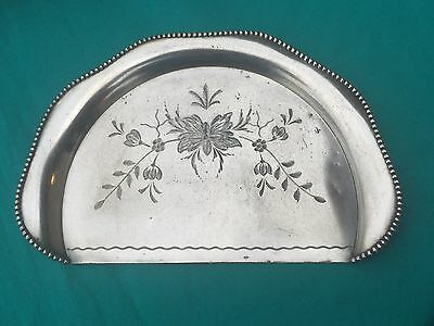 Antique Wallace Bros. Bright Cut Silverplate Crumb Tray Silver Plate Crumber