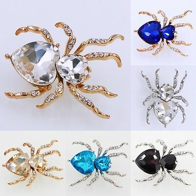 Hot Women Gold Silver Plated Jewelry Charm Spider Crystal Rhinestone Brooch Pin
