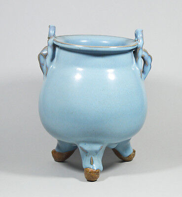 Antique Chinese China Qing Dynasty Celadon Tripod Censer