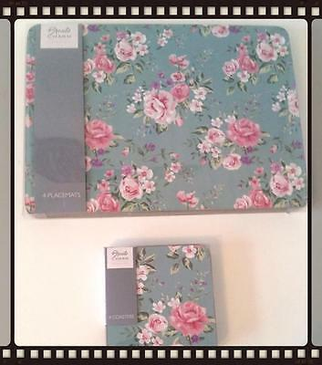 Shabby Chic Teal Floral Set of 4 Placemats and Coasters