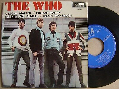 THE WHO the kids are alright + 3 RARE SPAIN EP 45 DECCA 1966*MONSTER MOD*unique*
