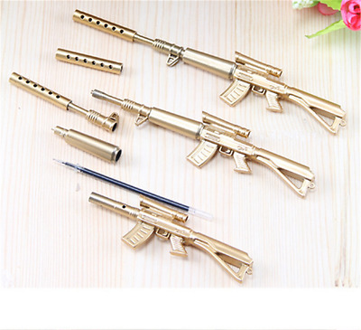 Korean Style Gold Rifle Shape Design Black Ink Ballpoint Pens Stationery Gifts
