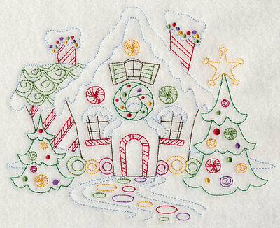 Embroidered Set of 4 gingerbread houses quilt block, fabric,cushion panel,quilt