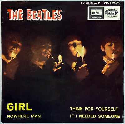 """THE BEATLES – Girl """"SMOKING Cover"""" PS  DOUBLE REFERENCE  1J EP DSOE 16.690 EX/EX"""