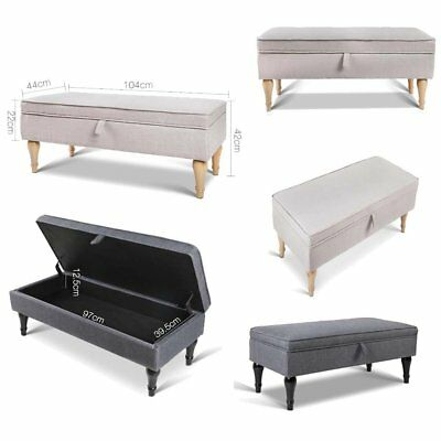 Blanket Box Foot Stool Storage Bench Seat Ottoman Linen Fabric Chest Bed Couch