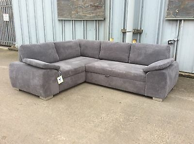 Enzo Grey Corner Sofa Bed with Storage - NEW - £699 Inc Free Local Delivery