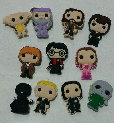 11 Harry Potter Charms for Shoe, Loom Bracelet, Charm Party Favors, Gift