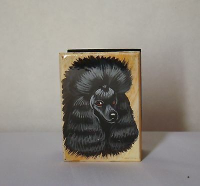 Mini box. High quality. Hand-painted  Poodle black