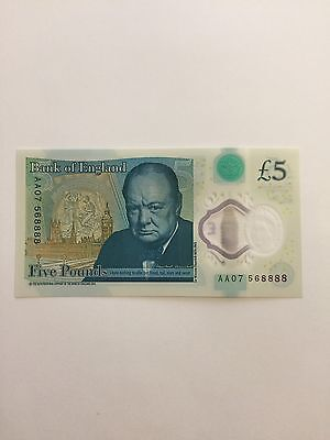 England New £5 Note Polymer Lucky Number AA07 568888 (ending 8888 Mint)