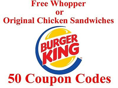Lot of Coupon Codes for Whoppers or Original Chicken Sandwiches Nationwide Combo