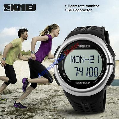 Skmei 1058 Heart Rate Sport LED Digital Quarz Wrist Watch Pedometer Fashion gift