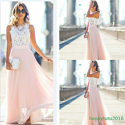 Women Dress Lace Evening Formal Party Cocktail Bridesmaid Prom Gown Long Dresses